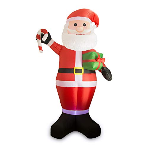 DAMGOO 8 Ft Christmas Inflatable Santa Claus Hold a Candy Stick and Gift Box Decoration Lighted for Lawn Garden Home Indoors -