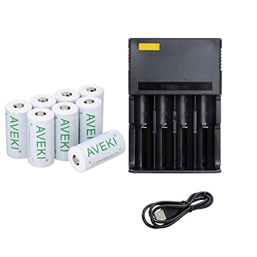 AVEKI 650mah 3.7v Cr123a 16340 Li-ion Rechargeable Battery +Charger, Perfect Power For Flashlight, Photo Camera (8 pack)