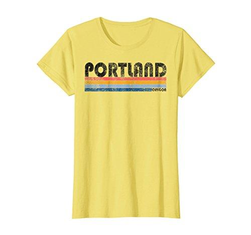 Womens Vintage 1980s Style Portland Oregon T-Shirt XL Lemon