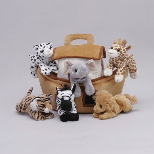 Plush Noah's Ark with Animals - Six (6) Stuffed Animals (Lion, Zebra, Tiger, Giraffe, Elephant, and White Tiger) in Play Ark Carrying ()