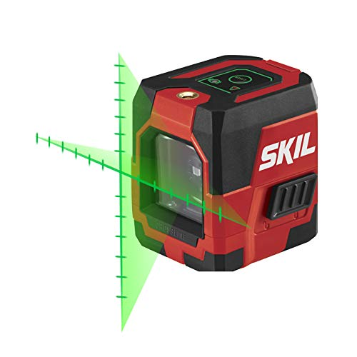 SKIL Self-Leveling Green Cross Line Laser with Projected Measuring Marks - LL932401 (Best Laser Level For Painting Stripes)