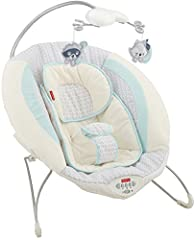 Your baby will love snuggling into the comfy, deep seat of the Fisher-Price Moonlight Meadow Deluxe Bouncer! This cozy infant seat gently bounces along to your baby's natural movements, with soothing vibrations and up to 20 minutes of music a...