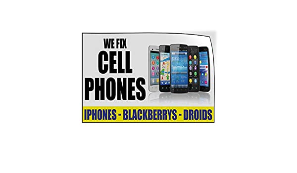 54inx36in Set of 2 Decal Sticker Multiple Sizes Cellular Red and White Retail Fix cellphones Outdoor Store Sign Red