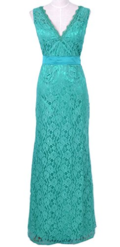 MACloth Women Mermaid V Neck Lace Long Mother of Bride Dress Formal Evening Gown Turquesa