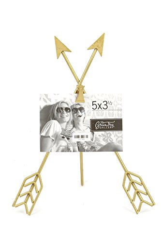 Green Tree Gallery Crossed Arrow Clip Frame, Metal, Gold, for 5 x 3 1/2 inch Photo - Holds one 5 x 3 1/2 inch photo - Makes a great gift Gold metal arrows Overall size of Tripod is 8 1/2 x 11 inches - picture-frames, bedroom-decor, bedroom - 41paIHAQuXL -