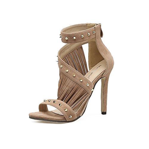 romano zapatos primavera remaches expuestos ZHZNVX apricot de la tacón tacón Expuestos en su sandalias sandalias de xvHHXaq