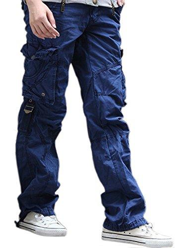 Urbanboutique Femmes Combat Dsinvolte Cargaison Six Poche Coton Militaire Pantalon Jeans Bleu