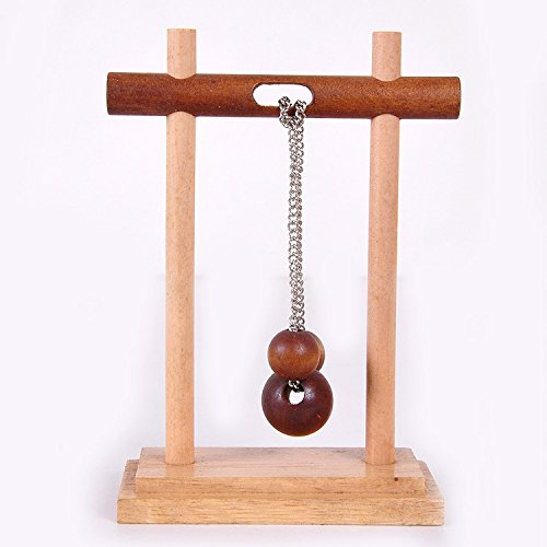 KINGOU Wooden Topology Rope Solution Classic Three Column Solution Set of Game Disentanglement Puzzle ()