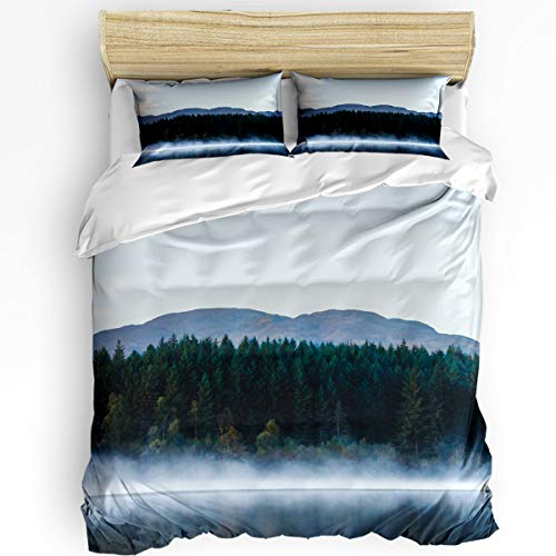- YEHO Art Gallery Queen Size Luxury 3 Piece Duvet Cover Sets for Boys Girls,Smoky Forest on The Lake Bedding Set,Include 1 Comforter Cover with 2 Pillow Cases