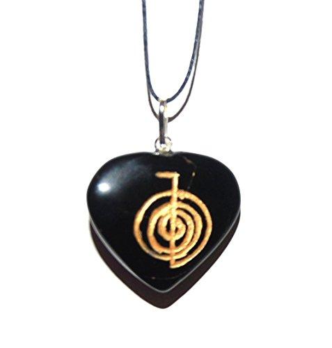 (Kala Emporium Usui Reiki Power Symbol Engraved Onyx Heart Crystal Pendant Cho Ku Rei Self Confidence)