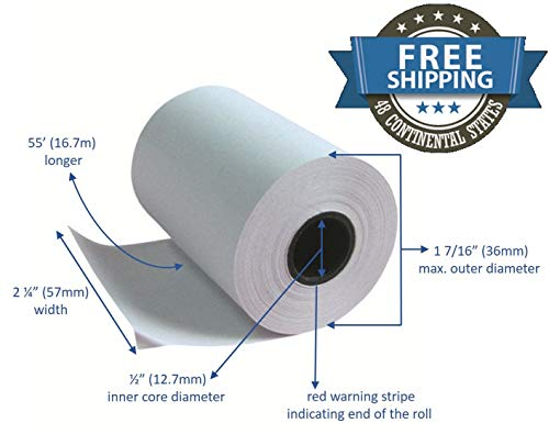 50' Solid Point - Thermal Paper Rolls 2 1/4 X 50 Verifone Vx520 Ingenico ICT220 ICT250 FD400 (10 rolls)