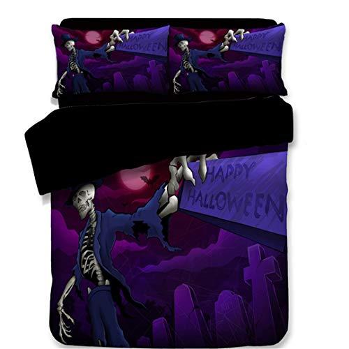 BKasals Halloween Devil US/AU/UK Queen Bedding Sets Thriller Pumpkin Bedclothes Cat Moon Bat Bedding Kit style4 Twin 4pcs ()