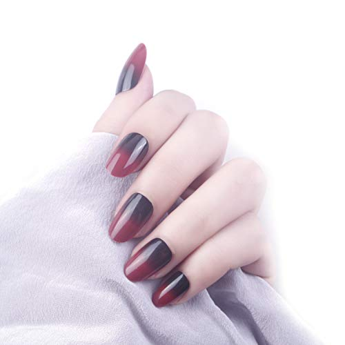 24 Pcs Black Full Cover Short False Gradient Jewelry Red Nails Gel Nail Art Tips Sets for Christmas -