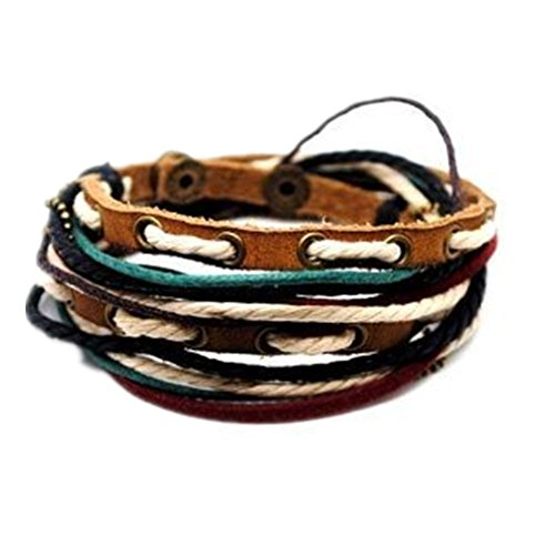 Adjustable Bracelet Cuff Made of Brown Leather Multicolour Ropes and Metal Woven Snapper 1s-1