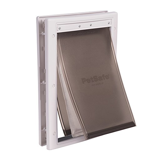 PetSafe Extreme Weather Energy Efficient Pet Door, Unique 3 Flap System, White, for Medium Dogs Up to 40 lb.