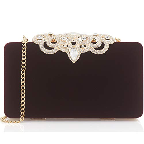 Dexmay Velvet Clutch With Rhinestone Crystal Crown Clasp Evening Bag Formal Party