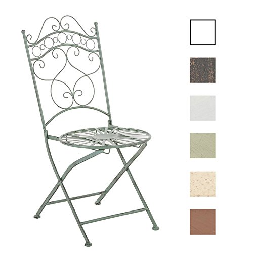 CLP Silla de Jardín Plegable Indra I Silla Plegable en Hierro I Silla de Exterior en Estilo Rústico I Color: Verde Antiguo