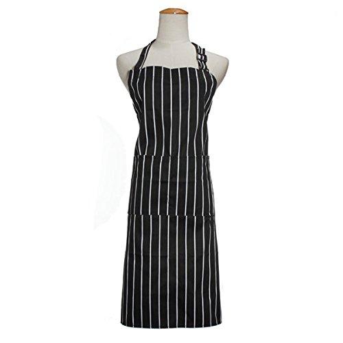 Planer Dacron - LN Shop Adult Adjustable Black White Stripe Kitchen Apron Chef Uniforms with 2 Pockets