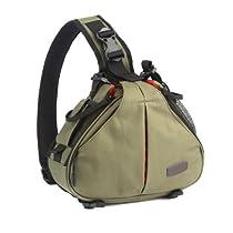 Andoer Caden K1 Waterproof Fashion Casual DSLR Camera Bag Case Messenger Shoulder Bag for Canon Nikon Sony Army Green