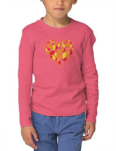 HAASE UNLIMITED Autumn Heart - Fall Harvest Cornucopia Long Sleeve Toddler Cotton Jersey Shirt (Pink, 3T) ()