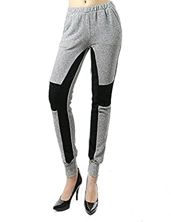Soft Warm Comfortable Cold Weather Sweatpants for Women Gray Black Combo (LARGE, GRAY/BLACK-MP4701)