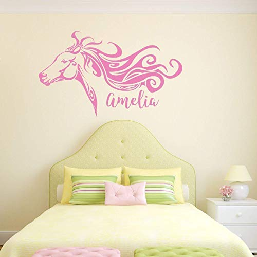 Personalized Horse Head Vinyl Wall Decal with Custom Name - Art Decoration Sticker for Home, Office, Cabin, Stable - Available in Pink, Blue, Purple, Gold Other Bright Colors