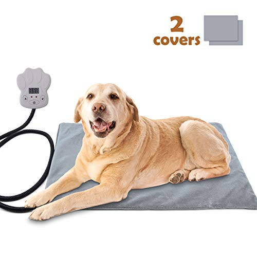 Sotical Pet Heating Pad, Electric Heating Pad for Cats and Dogs Waterproof Warming Mat with Chew Resistant Cord Soft Remove Cover Overheat Protection (15.7
