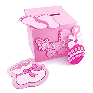 Adorox 3D Version Baby Shower Wishing Well Card Box Decoration (Girl)