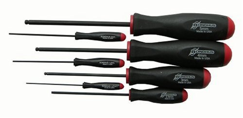 Bondhus 10687 Set of 7 Balldriver Screwdrivers, ProGuard Finish, sizes 1.27-5mm (Hex Key Screwdriver Set)