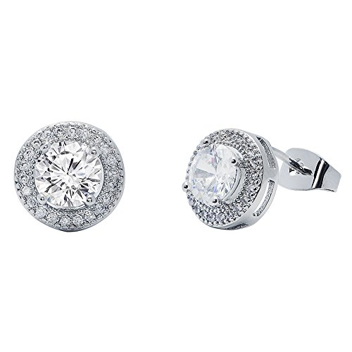 (Cate & Chloe Mariah 18k White Gold Plated Round Cut CZ Halo Stud Earrings, Sparkling Cluster Silver Stud Earring Set w/Solitaire Round Cut Gemstone, Wedding Anniversary Jewelry )
