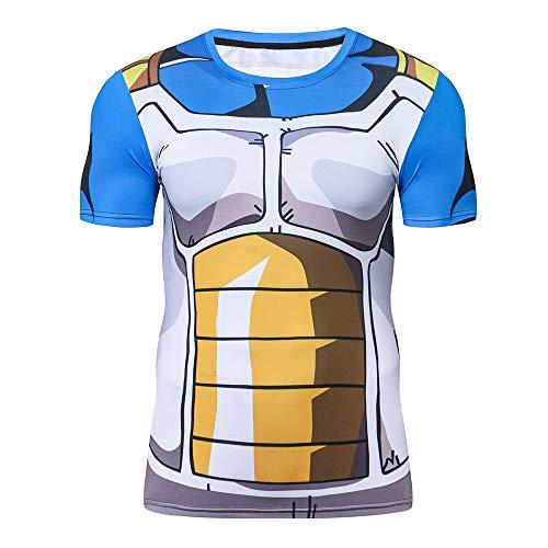 M & C Sports Direct Dragon Ball Z BJJ Grappling Rash Guard Vegeta MMA Compression Shirt for Men - Fight Wear (XXL) Black