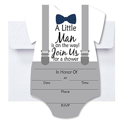 Little Man Baby Shower Blank Invites 50 Pack Fill in Invitations with Envelopes for Baby Shower Bowtie and Suspenders Gray with Navy