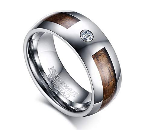 Campton 8MM Wood Tungsten Carbide Engagement Wedding Mens Ring Cz Fashion Jewelry Gift | Model RNG - 516 | 12 ()