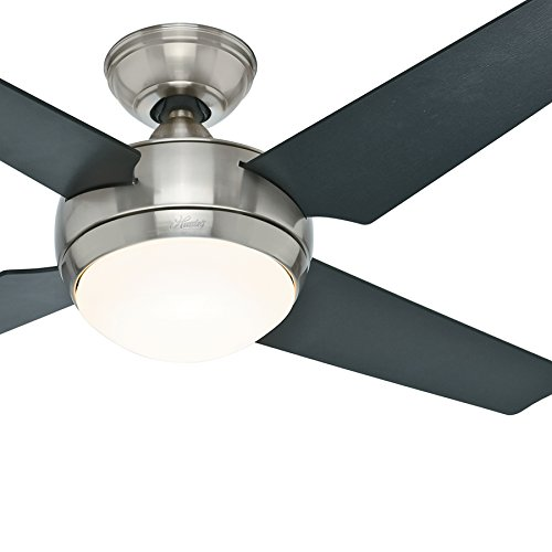 Hunter Fan 52  Contemporary Ceiling Fan With Light And Remote In Brushed Nickel   Energy Star Rated  Certified Refurbished