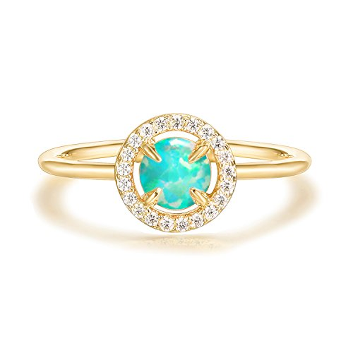 (PAVOI 14K Yellow Gold Plated Rose Gold Ring Green Opal Ring | Rings for Women)