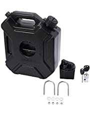 Senmubery 5L Liters Black Fuel Tank Can Car Motorcycle Spare Petrol Oil Tank Backup Jerrycan Fuel-Jugs Canister with Lock & Key