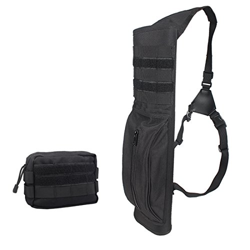 Kratarc Archery Multi-function Heavy Duty Back Arrow Quiver with Molle System Shoulder Hanged Target Shooting Quiver for Arrows (Black- with molle pouch) (System Quiver)