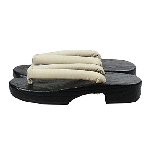 Ez-sofei Womens Japanese Shoes Wooden Geta Clogs A-beige(black Sole) 175nJK0
