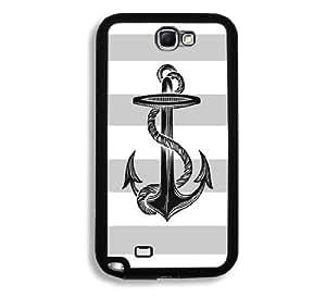 Anchor On Grey Stripes Samsung Galaxy Note 2 Note II N7100 Case - Fits Samsung Galaxy Note 2 Note II N7100