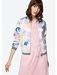 Bench Patterned Bomber Jacket with Color-Contrasting Cuffs - Tied Dye Letter