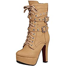 WeenFashion Women's Round Closed Toe Soft Material High-Heels Solid Boots with Ornament