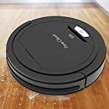 PUCRC26B Automatic Robot Vacuum Cleaner - Lithium Battery 90 Min Run Time - Robotic Auto Home Cleaning for Clean Carpet and Hardwood Floor Dry Mopping - HEPA Pet Hair Allergies Friendly - Pure Clean