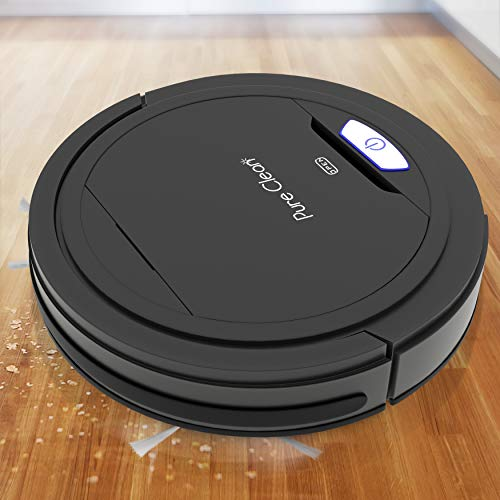 PUCRC26B Automatic Robot Vacuum Cleaner - Lithium Battery 90 Min Run Time - Robotic Auto Home Cleaning for Clean Carpet and Hardwood Floor Dry Mopping - HEPA Pet Hair Allergies Friendly - Pure Clean (Best Robot Vacuum For Cat Litter)
