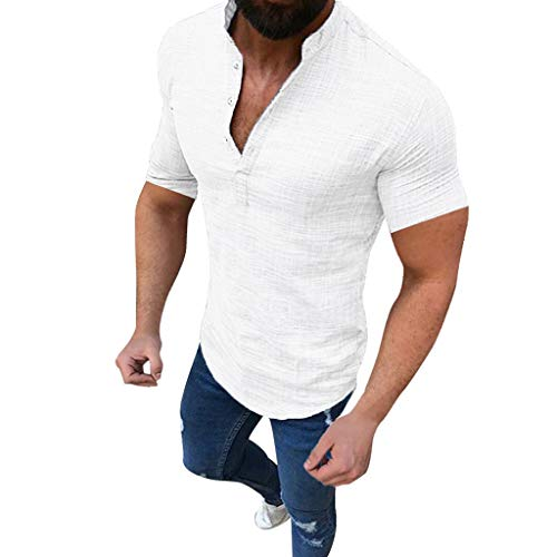 (Mens Short Sleeve Henley Shirt Cotton Linen Beach Yoga Loose Fit Casual Work Shirt Tops White)