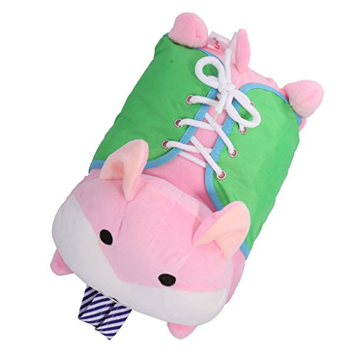 Jili Online Children Learning Basic Life Skills Plush Hamster Zip Button Snap Lace Learning Toys for Toddler Pink