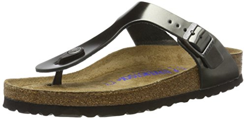 Birkenstock Gizeh SFB Metallic Anthracite Leather 37 EU / 6 R US Women - Birkenstock Leather Flip Flops