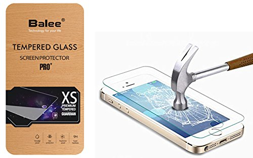 Balee iphone 5s Screen Protector,Ultra Thin Anti-Scratch Tempered Glass Screen Protector for iPhone 5S, 5, 5c,SE (Ultra Glass Thin)