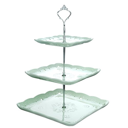 Malacasa Series Sweet Time, 3 Tier Square Ceramic Cake Stand Porcelain Party Food Server Display Set Dessert Stand Slate Serving Set with Silver Carry Handle, Green