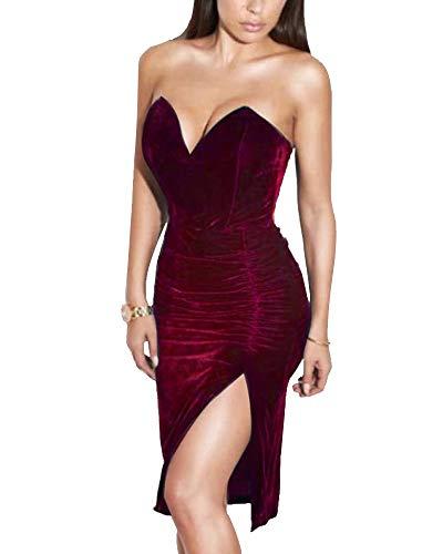 (Joyfunear Women's Sexy Strapless Ruched Velvet Split Bodycon Midi Dress Red)