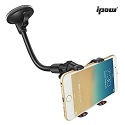 Ipow X Clamp Car Mount, [Update] 6 Inches Long Arm Universal Windshield Dashboard Cell Phone Holder With Strong Suction Cup
